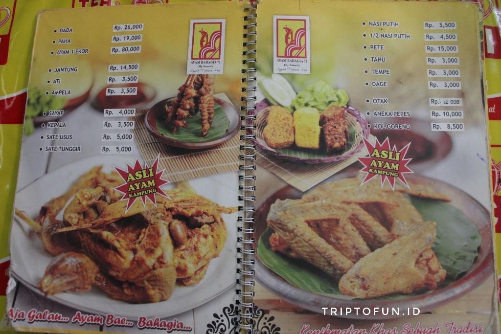 daftar menu ayam goreng bahagia hj sunarti