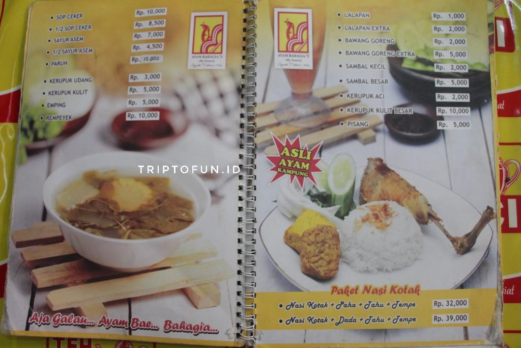 menu yang tersedia di ayam goreng bahagia